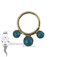 18K Yellow Gold Seam Ring with Peruvian Chryscolla