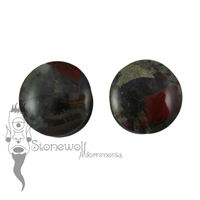 African Bloodstone 25mm Double Flared Plugs - Ready To Ship
