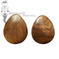 Pair of Amboyna Teardrop Wood Plugs Double Flared- Made to Order