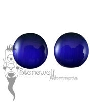 Blue Cats Eye Glass 15mm Plugs - Ready To Ship