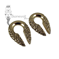 Pair of Bronze Textured Keyhole Ear Weights