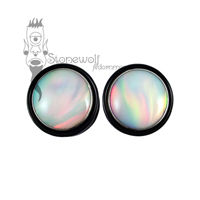 Pair of Delrin Plugs with Light Aurora Opal Inlay Made to Order