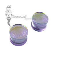 Gorilla Glass 16mm Lavender Gold Dichroic Double Flared Plugs