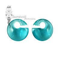 Gorilla Glass Turquoise Mini Eclipse Glass Ear Weights