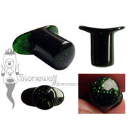 Green Goldstone Round Glass Labret Made to Order