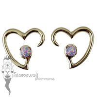 Pair of Bronze Jewel of my Heart Weights - Purple Synthetic Opal