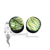 Pair of Labradorite Stone Plugs Double Flared Made to Order