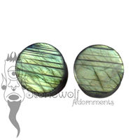 Labradorite 12mm Double Flared Plugs - Ready To Ship
