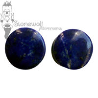 Pair of Lapis Lazuli Stone Plugs Double Flared Made to Order