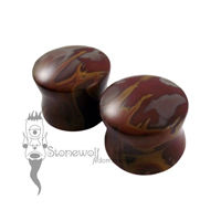 Pair of Noreena Jasper Stone Plugs Double Flared Made to Order