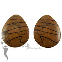 Black and White Tiger Ebony Teardrop Plugs 43mm - Ready To Ship