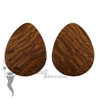 Olive Wood Teardrop Plugs 52mm - Ready To Ship