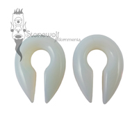 Pair of Opalite Glass Keyhole Ear Weights- Choice of Colour