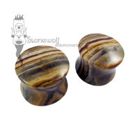 Pair of Pakistani Onyx Stone Plugs Double Flared Made to Order