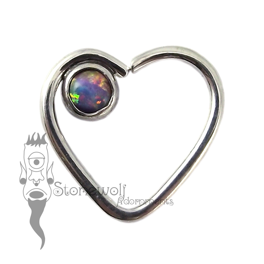 925 Silver Heart Seam Ring with Purple Opal Stone -Ready To Ship