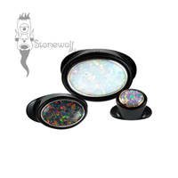 Delrin Oval Labret with Synthetic Opal Inlay - Made to Order