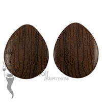 Zebrano Wood Teardrop Plugs 45mm - Ready To Ship